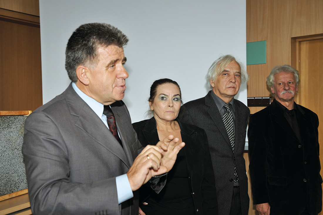 Wykładowcy warsztatów (od lewej): prof. Jan Deja, prof. Maria Misiągiewicz, prof. Dariusz Kozłowski, prof. Jerzy Nowakowski