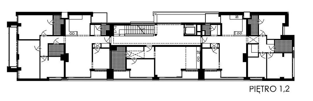 Budynek mieszkalny, Warszawa ul. Fałata 15 - rzut piętra