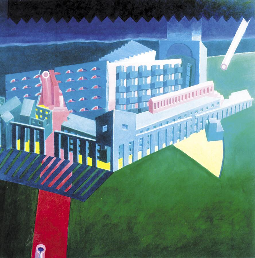 """""""Droga Czterech Bram"""". Wyższe Seminarium Duchowne w Krakowie, 1988, akryl 100x100 cm"""