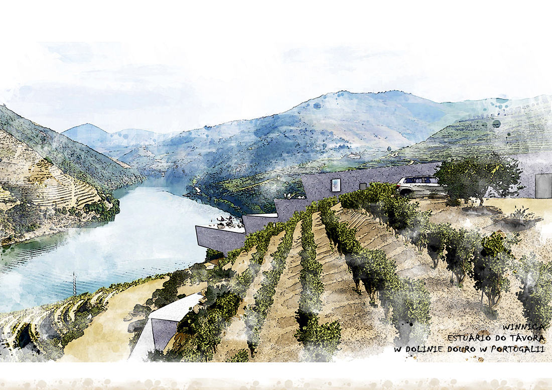 Nominacja: arch. MACIEJ ŁATA. Tytuł pracy: Winnica Estuário do Távora w dolinie Douro w Portugalii