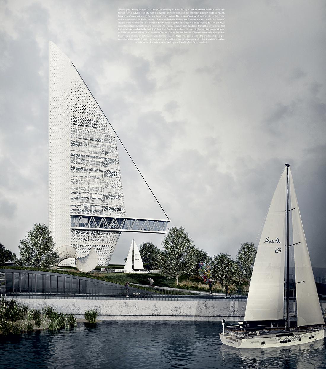 Wyróżnienie: arch. AGATA MORAWCZYŃSKA. Tytuł pracy: Muzeum żeglarstwa w Gdyni