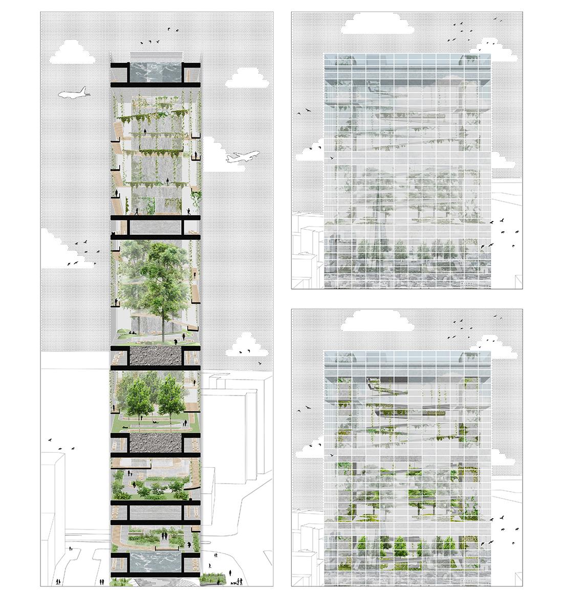 Nominacja: arch. SABRINA TKACZUK. Tytuł pracy: Parkowiec. Projekt koncepcyjny wielowarstwowej struktury parkowej w zagęszczającej się tkance miejskiej