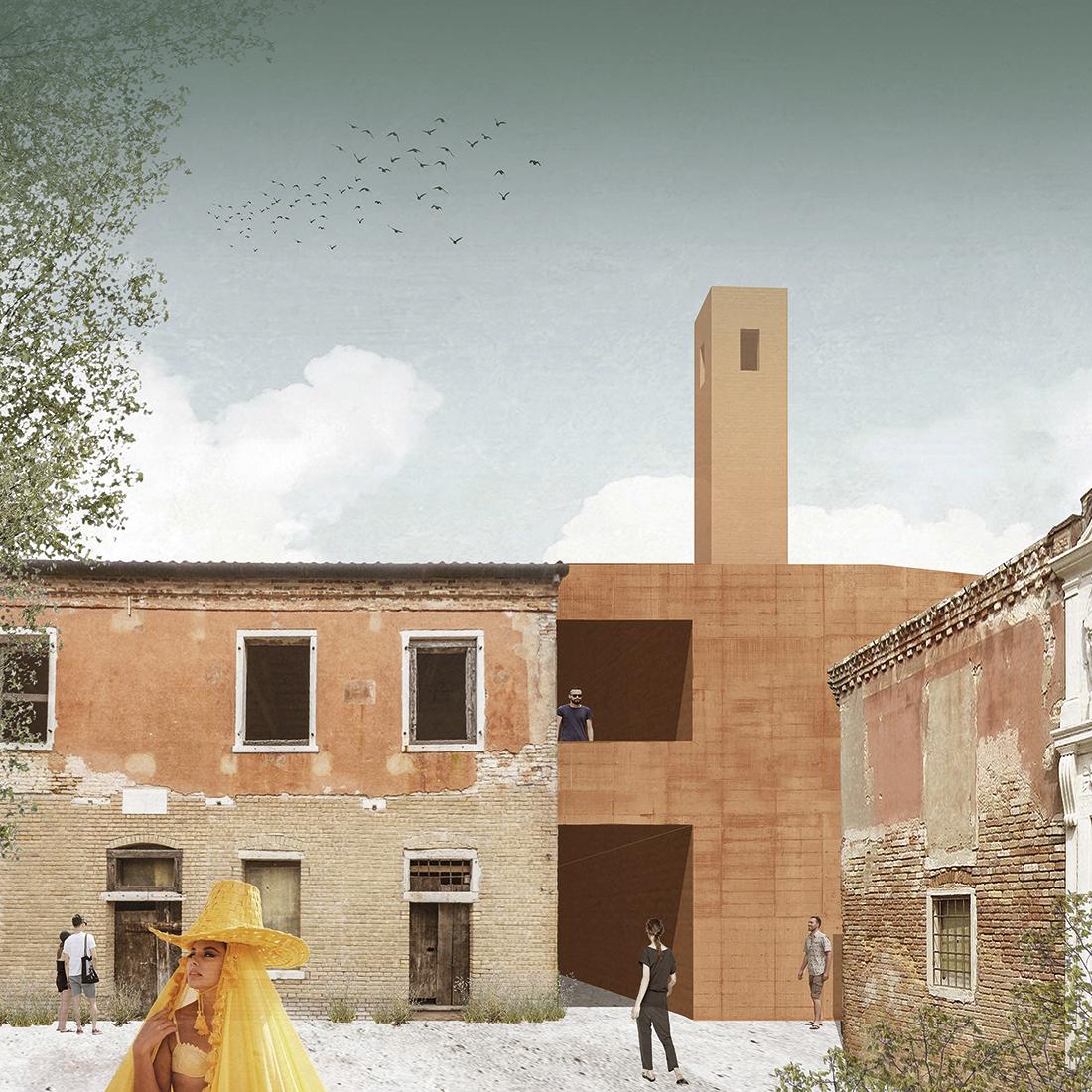 """Laureat konkursu Architektura Betonowa – Szymon Ciupiński, praca """"Lazzaretto Vecchio – wyspa kina na Lagunie Weneckiej"""""""