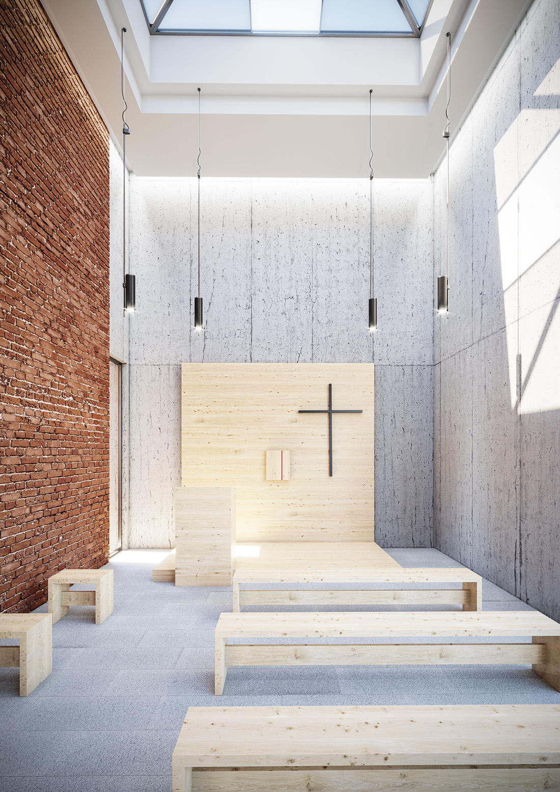 Wizualizacja wnętrza kaplicy Caritasu