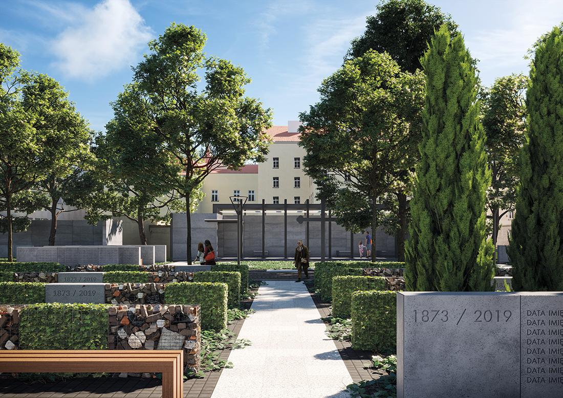 Wizualizacja upamiętnienia dawnego cmentarza ewangelickiego